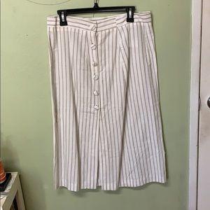 Striped mid length skirt